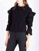Burberry Ruffle-trim cable-knit wool and cashmere-blend jumper