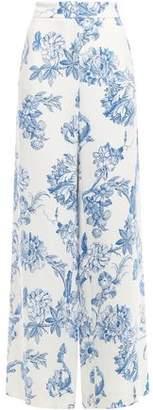 Oscar de la Renta Floral-print Stretch-silk Crepe Wide-leg Pants