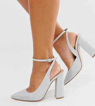 Asos Design DESIGN Wide Fit Pace high block heels in silver glitter
