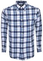 Gant Linen Regular Long Sleeve Check Shirt Blue