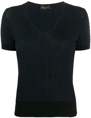 Roberto Collina zig-zag V-neck knitted top