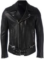 Balmain belted accent biker jacket - men - Cotton/Lamb Skin/Polyester - 46