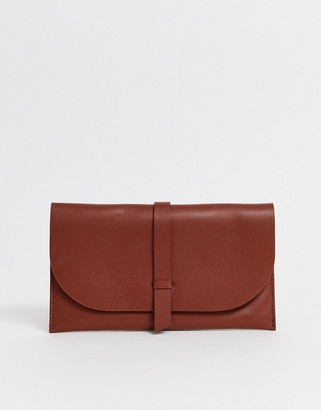 Asos Design DESIGN leather slot through foldover purse-Tan