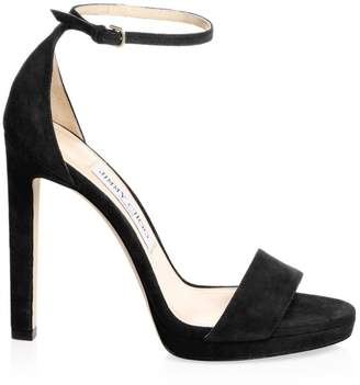 Jimmy Choo Misty Suede Ankle-Strap Platform Sandals