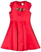 David Charles Red Fit and Flare Dress with Jewelled Neckline