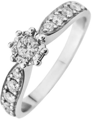 Starlight 9ct Gold 3/4ct Look 25 Point Illusion Set Diamond Ring With Stone Set Shoulders