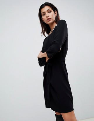 Vila tie waist midi dress in black