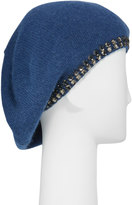 Portolano Cashmere Crystal-Edge Beret Hat, Blue Indigo
