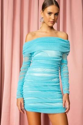 superdown Off Shoulder Sparkle Mini Dress