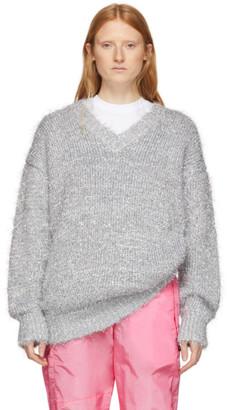 MSGM Silver Lurex V-Neck Sweater