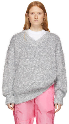 MSGM Silver Lurex V-Neck Sweater