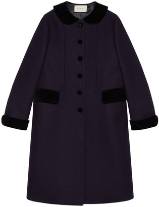 Gucci Wool coat with velvet details