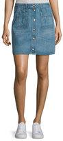 Rag & Bone Santa Cruz Snap-Front Denim Miniskirt, Capitol