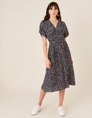 Monsoon Spot Print Midi Dress Blue