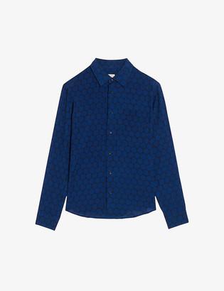 Sandro Flowing-print regular-fit woven shirt