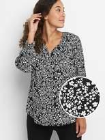 Maternity floral split neck shirt