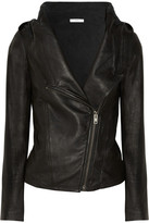 Hooded washed-leather jacket