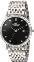 Adee Kaye Men's Quartz Stainless Steel Dress Watch, Color:Silver-Toned (Model: AK4801-M/BK)