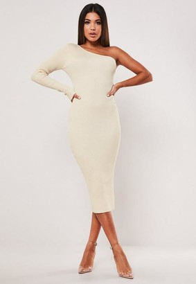 Missguided Rib One Shoulder Knitted Midi Dress