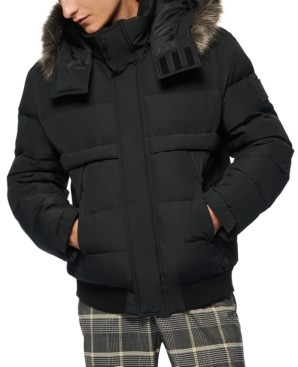 Andrew Marc Men's Bart Down-Filled Bomber with Faux Fur Trimmed Removable Hood