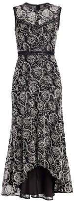 ML Monique Lhuillier Sleeveless High-Low Midi Dress
