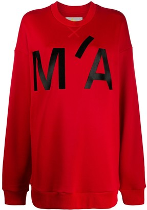 Marques Almeida Oversized Monogram Print Sweatshirt