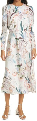 Ted Baker Decadence Floral Print Long Sleeve Midi Dress