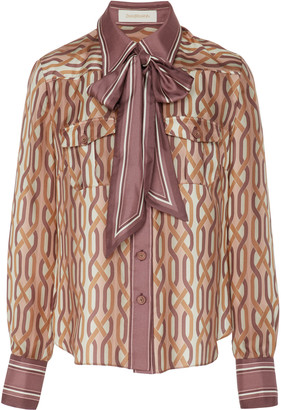 Zimmermann Pussy-Bow Two-Tone Printed Silk Shirt