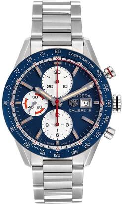 Tag Heuer Blue Stainless Steel Carrera Calibre 16 Chronograph CV201AR Men's Wristwatch 41 MM