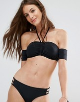 Noisy May Tan Lines Black Bardot Bikini Top