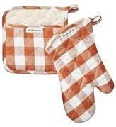 Williams-Sonoma Williams Sonoma Checkered Oven Mitt & Potholder Set, Pumpkin Orange