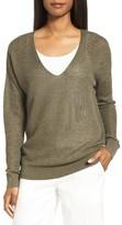 Nordstrom Women's V-Neck Linen Blend Sweater