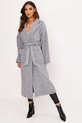 I SAW IT FIRST Grey Oversized Wool Coat