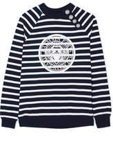 Balmain Printed Striped Cotton-jersey Sweatshirt - Midnight blue
