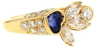 Piaget 2000s Pre-Owned 18kt Yellow Gold Diamond Sapphire Pre-Owned Heart Ring