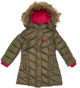 U.S. Polo Assn. Military Green & Rose Hooded Long Puffer Jacket - Toddler & Girls