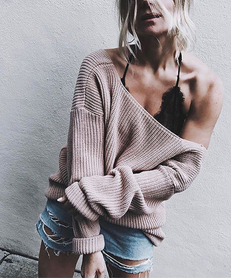 Adele Berto Women's Pullover Sweaters Powdery - Powder Pink Ribbed V-Back Sweater - Women