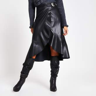 River Island Womens Black faux leather belted wrap midi skirt