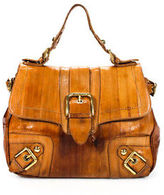Dolce & Gabbana Brown Eel Buckle Gold Tone Satchel Handbag