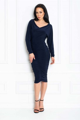 Honor Gold Farrah Navy Bardot Midi Bodycon Dress With Ruching