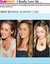 Jennifer Zeuner Jewelry Large Swirly Initial Necklace in Silver or Gold Vermeil as seen on Lauren Conrad