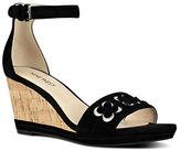 Nine West Julian Floral-Embellished Suede Wedge Sandals