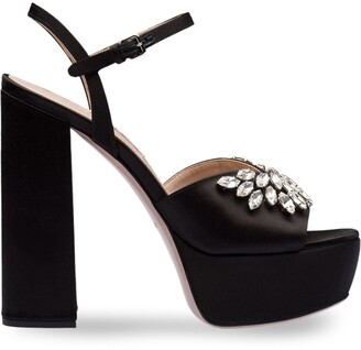 Miu Miu Crystal Embellished Satin Platform Sandals
