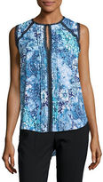 T Tahari Norma Floral-Print Sleeveless Blouse