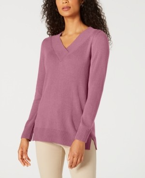 Karen Scott Solid Crossover V-Neck Sweater, Created for Macy's