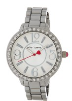 Betsey Johnson Women's Baguette Markets Crystal Accented Bracelet Watch