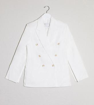 ASOS DESIGN Petite split sleeve suit blazer in texture