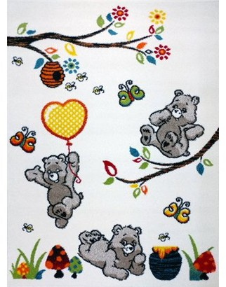 """KC Cubs Boy and Girl Bedroom Modern Decor Area Rug and Carpet Collection For Kids and Children (3' 11"""" x 5' 3"""", Bear and Bees)"""