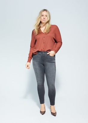 MANGO Violeta BY Buttoned ribbed t-shirt burnt orange - S - Plus sizes