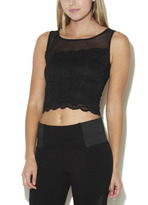 Arden B Sleeveless Lace Crop with Mesh